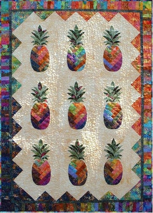 Tropical Quilt Patterns With Images Of Pineapples Turtles